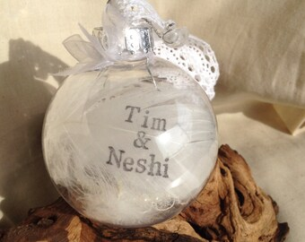 Wedding gift, favour, bauble personalised with feathers