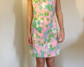 Floral cotton 60's dress with flower straps