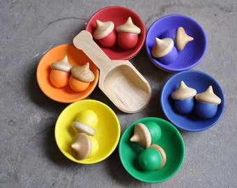 Rainbow Sorting Acorns - A Waldorf and Montessori Inspired Educational Toy