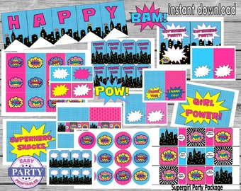 SALE Instant Download Superhero Party Package, Save 80% with this bundle, superhero girl party, pink and aqua, supergirl, toppers, signs,set