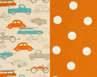 Boys Car, Truck and Polka Dot Bedding Set - Duvet Cover with Matching Shams - Toddler, Dorm Twin, Twin and Full/Queen