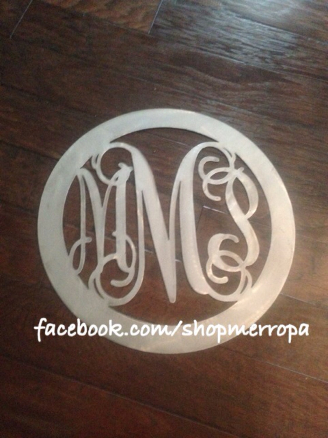 Custom metal 3 letter monogram large circle wedding gift for Large metal monogram letters