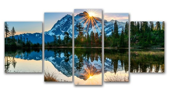 Glass Wall Art Acrylic Decor Set Mirror of the Mountains, 5 Stars Gift and a Clock Startonight Set of 5 Total 35.43 X 70.87 Inch