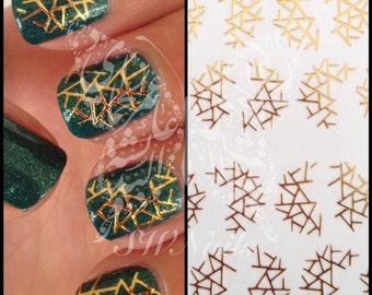 Gold Nail Art Water Decals Slides