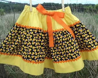 Candy Corn Skirt - Girls Size 4 Skirt - Yellow Orange Black White Candy Corn Skirt - Girls Halloween - Girls Halloween Skirt - Candy Corn