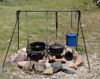 Large Folding Campfire Cooking Set BBQ Grill Cookware Dutch Oven Ready
