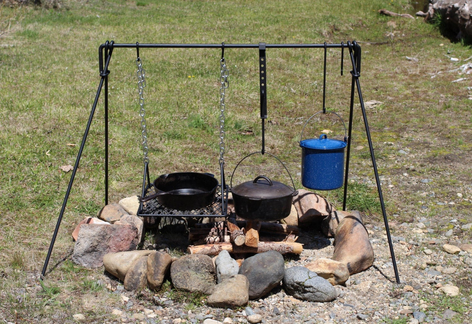 Large Folding Campfire Cooking Set Bbq Grill Cookware By