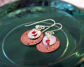 Cleo - Hammered Copper Earrings, Hammered Sterling Silver Disks, Swarovski Crystals, Sterling Silver Earwires