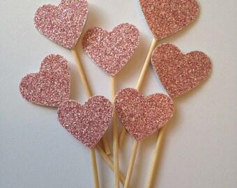 Pink Glitter Heart Cupcake Topper