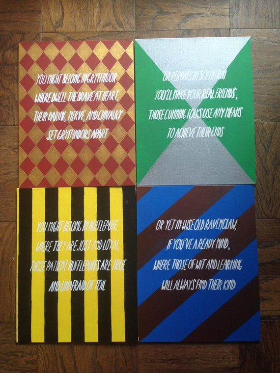 Items similar to harry potter houses canvas set on etsy - Exterior painting quotes set ...