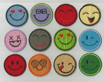 Iron on Sew on Patches: Happy Faces (set of 12)