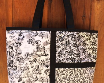 Tote-bag  - black and white floral with Asian accents -  Bag - Purse