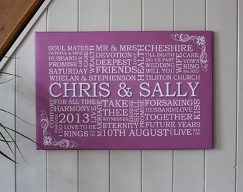 Personalised Word Art Wedding Canvas