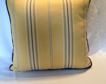 Blue and Yellow Striped Pillow Cover