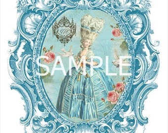 """Fabric Block *Blue Marie Antoinette Paris Collage""""  14-0315- FREE SHIPPING"""