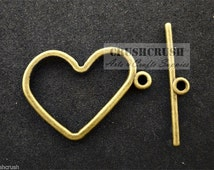 Free Shipping - 9sets Antique Brass Heart TBar&Toggle Clasps Connectors Locker PND-589