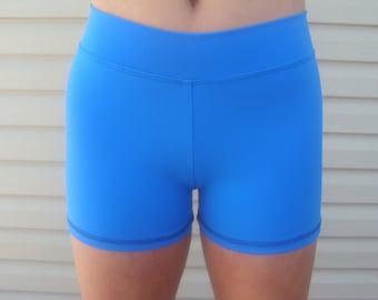 Women / Teen Royal Blue High Waist Compression Spandex Workout Shorts