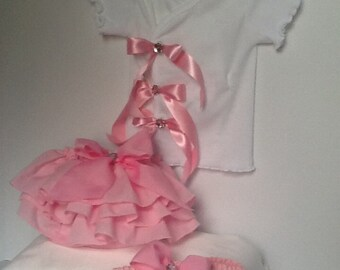 Girls pink diaper cover and top with matching headband