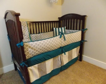 Custom 2 or 3 piece Crib Bedding - Grey and Teal Wave