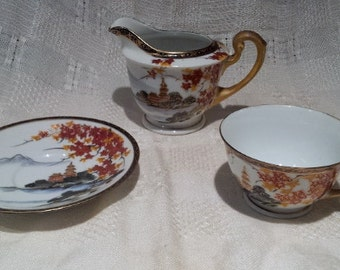 Gorgeous 3-pc.Set Hand-Painted Cup, Saucer and Creamer; Japanese c. 1940s