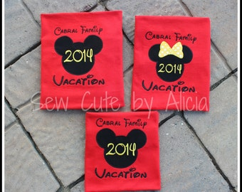 Family Vacation Shirts....Red Short Sleeve Shirts ~ Mickey and Minnie