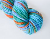 CLEARANCE Frogs and Snails Hand Painted Aran Weight Merino Wool Yarn Blue Aqua Green Orange Sustainable Australian Wool Hand Dyed Vareigated
