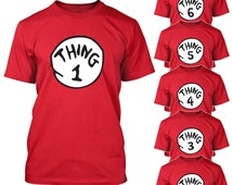 Thing 1 2 3 T-shirt Cat in the Hat Halloween Costume Shirts Toddler Baby Youth Adult sizes S-5XL