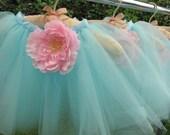Robin Egg Blue Ballerina Wrap Around Tutu with Flower / Ballerina Party Favor / Kids / Costumes / Tutus / Birthday Parties / Favors
