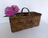 Vintage French Split Weave Basket Home Decor