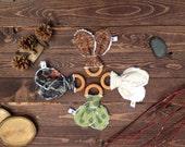 BUCKS, TRACKS & RUBS™ Natural Organic Maple Hardwood Teething Ring, Chenille Ears Baby Teether – deer, camo, hunting, buck, woodgrain