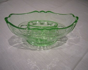 British Made - Vintage green glass vase