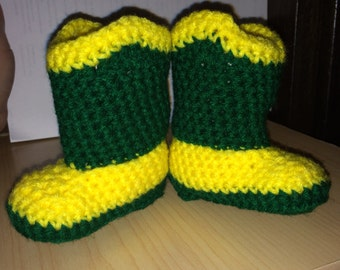 Green and yellow Baby Booties