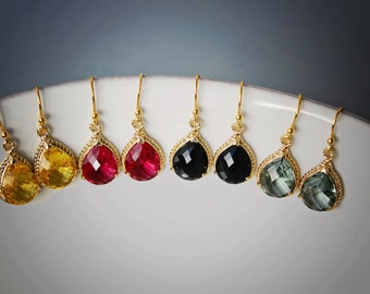 Crystal Drop Earrings Gold Earrings Grey Earrings Black Earrings Yellow Earrings Fuchsia Earrings Briidesmaid Earrings Dangle Earrings Red