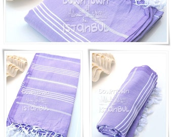 Peshtemal Towel SET of 3 - Turkish Bath Towel Beach Towel Fouta Towel Wrap Bathroom Towel Bath French Linen Towel  Beach Sarong Towel Lilac
