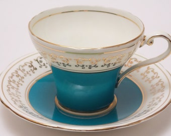 Aynsley Fine Bone China Corset Tea Cup and Saucer Made in England Turquoise Blue Gold Border