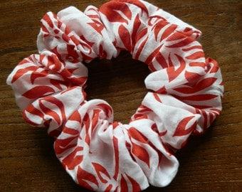 Handmade Red and White Floral Cotton Hair Scrunchie