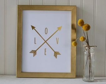 Arrow Love Real Foil Print - Wall Art Decor - Home - Office Accessories - Gold