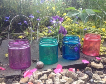 Rainbow pack, set of 4 glass mason jar hanging tea light candle holder lanterns, ideal for indoors, outdoors, weddings & parties.