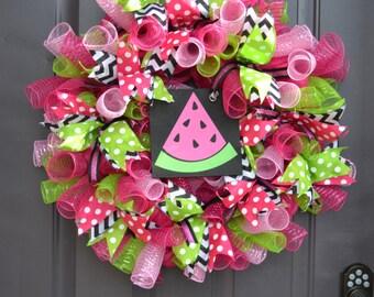 Watermelon Mesh Ribbon Wreath