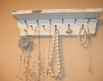 Nice white shelf perfect for jewelry, necklace holder, shelf organizer, shabby chic, wood key holder jewelry organizer