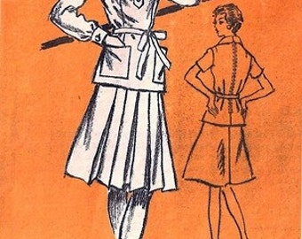 Prominent Designer A959 Classy Two-Piece Dress 1970's / SZ14 UNCUT