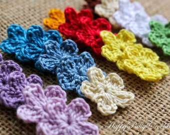 Mini Crochet Flower Appliques - 20PCS - F097