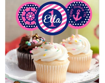 Girls Nautical Birthday Party Cupcake Toppers