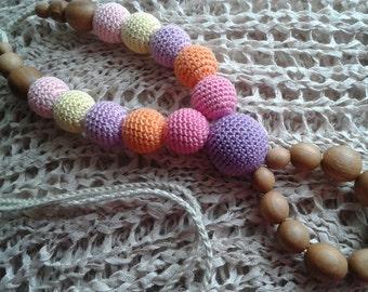 Nursing necklace.Baby toy.Wood.Teething necklace.Applewood.Breastfeeding.