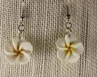 Poly clay flower earrings/asst. colors - fishhooks, White, E 154