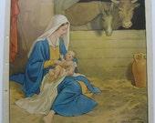 Vintage Macmillan Poster Print - Original 1930's - Children's - Religious - Jesus - Bethlehem - Stable - J Scott Orr