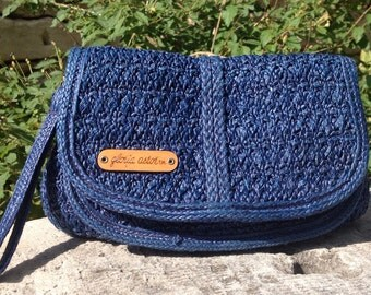 1970's 1980's Vintage Gloria Astor Sarne Clutch in Cobalt Blue Vintage Woven Summer Clutch by Gloria Astor