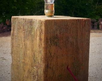 Reclaimed Oak Block Lamp
