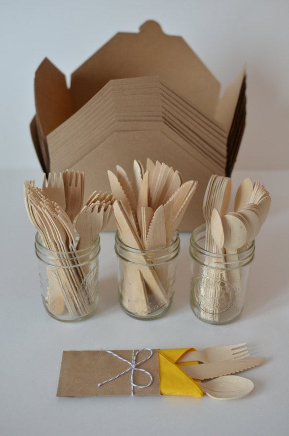 Kraft picnic box 6 piece kit disposable wooden cutlery for Decor 6 piece lunchbox