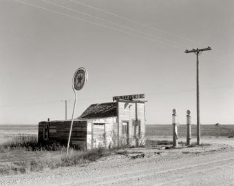 No Gas! reproduction of vintage FSA photograph of abandoned gas station North Dakota 1937 Russell Lee
